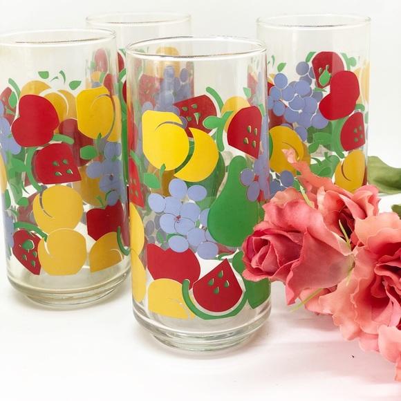 Vintage Retro Fruit Inspired Drinking Glasses (4)